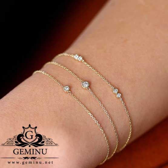 دستبند طلا زنجیره ای سبک