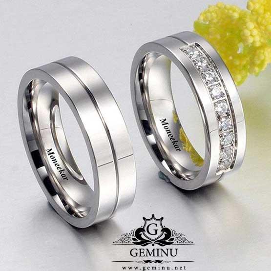 حلقه ازدواج طلا سفید با نگین