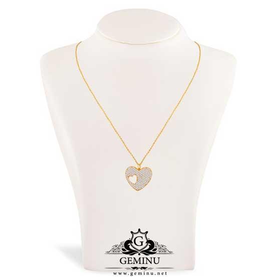 گردنبند طلا قلب نگین دار | گردنبند طلا نگین دار | گردنبند طلا قلب | گردنبند طلا قلب براق | گردنبند طلا قلبی شکل | گردنبند طلا مدل قلب | عکس گردنبند طلا قلب