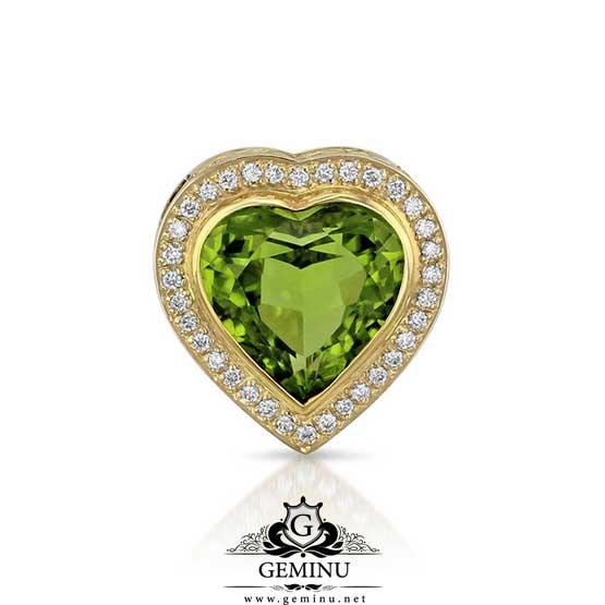 آویز قلب طلا با نگین | آویز قلب طلا | آویز طلا قلب | آویز جواهر قلب | آویز طلا قلب نگین دار | آویز قلب طلای سفید