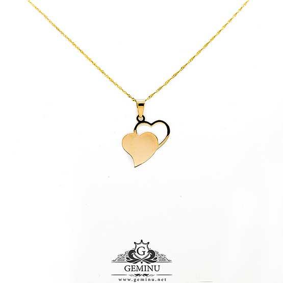 آویز طلا دو قلب | گردنبند طلا دو قلب | آویز طلا قلب | گردنبند طلا قلب