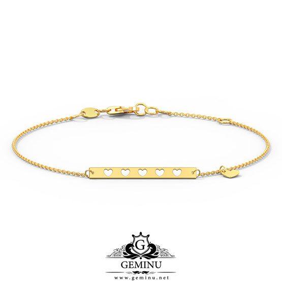 دستبند طلا قلب پلاک دار | دستبند طلا قلب | دستبند طلا قلب پلاک | دستبند طلا طرح قلب | دستبند طلا مدل قلب | دستبند طلای طرح قلب