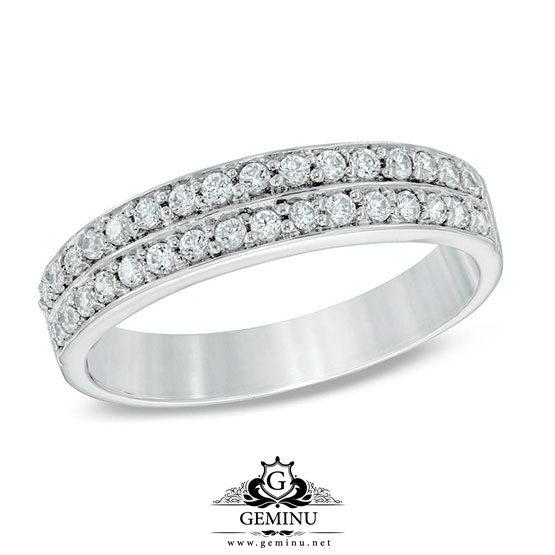 حلقه ازدواج طلا سفید با نگین برلیان | حلقه ازدواج طلا سفید | حلقه ازدواج طلا با نگین برلیان | حلقه ازدواج طلا سفید برلیان