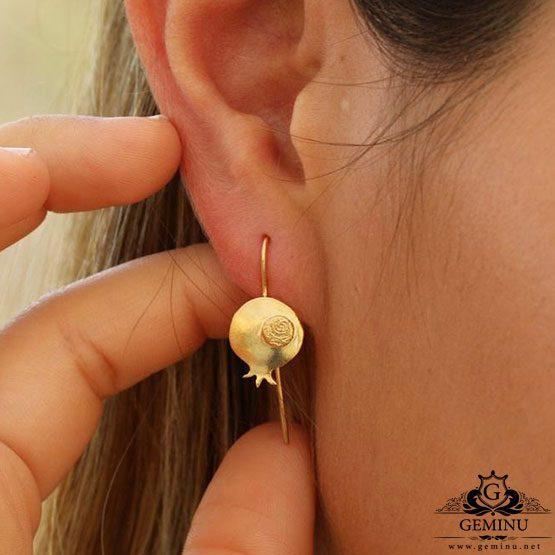گوشواره طلا انار | گوشواره طلای انار | گوشواره طلا طرح انار | گوشواره طلا مدل انار
