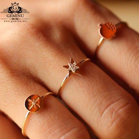 انگشتر طلا طرح انار | انگشتر طلا انار | انگشتر طلا مدل انار