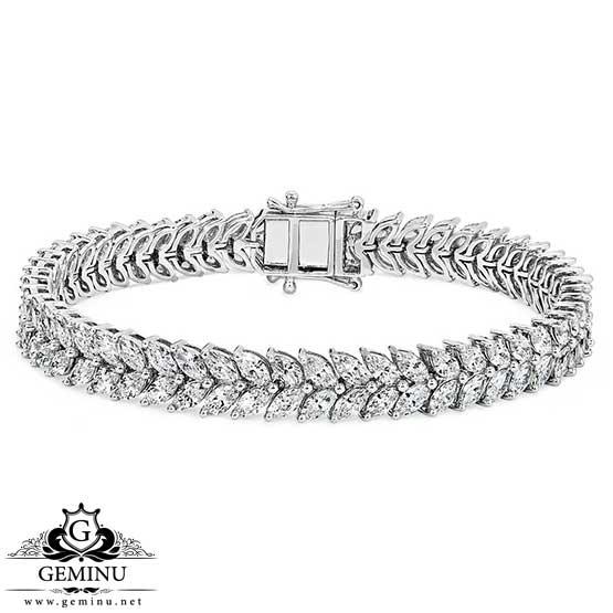 دستبند طلا با نگین مارکیز | دستبند طلا با نگین جواهر | دستبند طلا جواهر | دستبند طلا مارکیز | دستبند جواهر طلا سفید با قیمت |دستبند طلا برلیان
