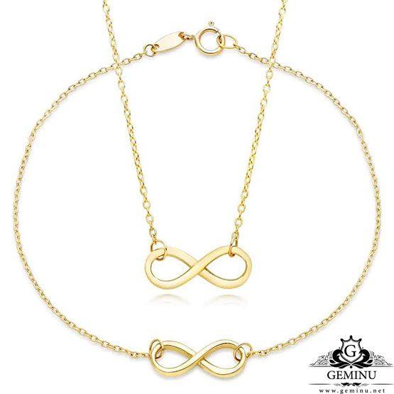 نیم ست طلا دستبند و گردنبند بینهایت | نیم ست طلا بینهایت | نیم ست طلا دستبند و گردنبند | نیم ست طلا زرد | نیم ست طلا سبک | نیم ست طلا ارزان قیمت
