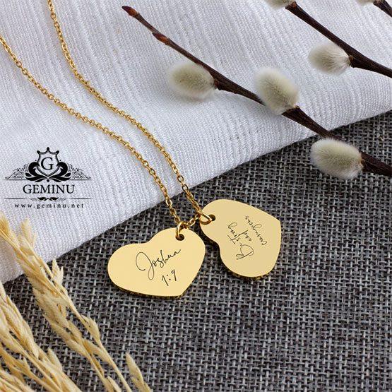 گردنبند طلا دو قلب | گردنبند طلا قلب | گردنبند طلا قلبی شکل | گردنبند طلا قلب با اسم | گردنبد طلا قلبی