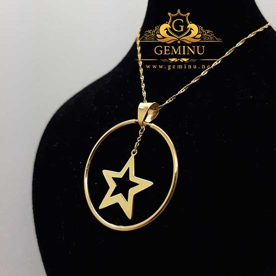 آویز طلا ستاره | آویز طلا طرح ستاره | آویز طلا مدل ستاره | گردنبند طلا ستاره | گردنبند طلا بدون نگین