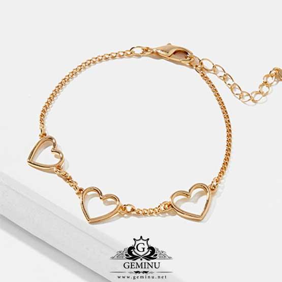 دستبند طلا طرح قلب | دستبند طلا مدل قلب | دستبند طلا شکل قلب | دستبند طلای طرح قلب | دستبند طلا زنجیری | دستبند طلا بدون نگین