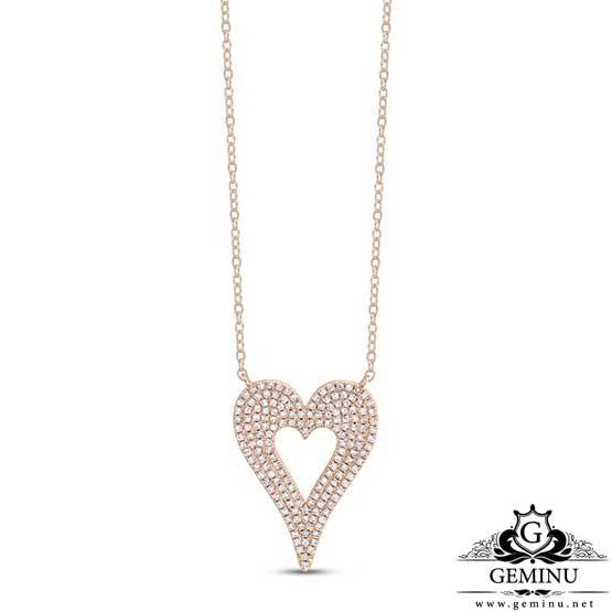 گردنبند طلا قلب برلیان | گردنبند طلا قلب | گردنبند جواهر قلب | گردنبند طلا طرح قلب | گردنبند طلا مدل قلب | خرید گردنبند طلا قلب