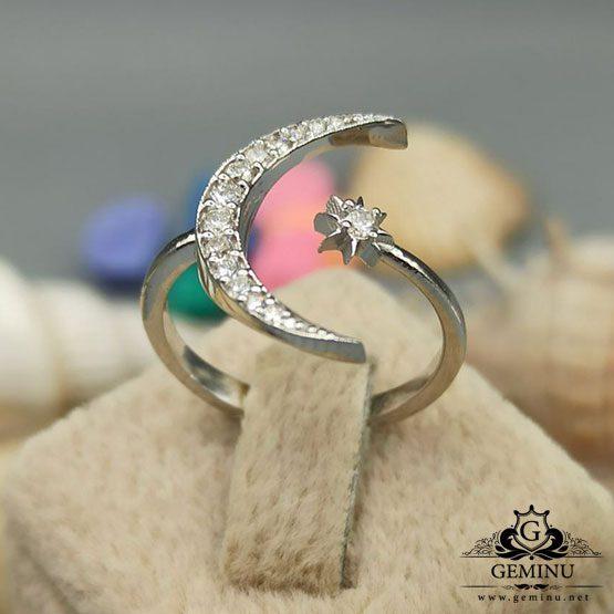 انگشتر جواهر ماه و ستاره | انگشتر طلا ماه و ستاره | انگشتر جواهر ماه | انگشتر جواهر ستاره
